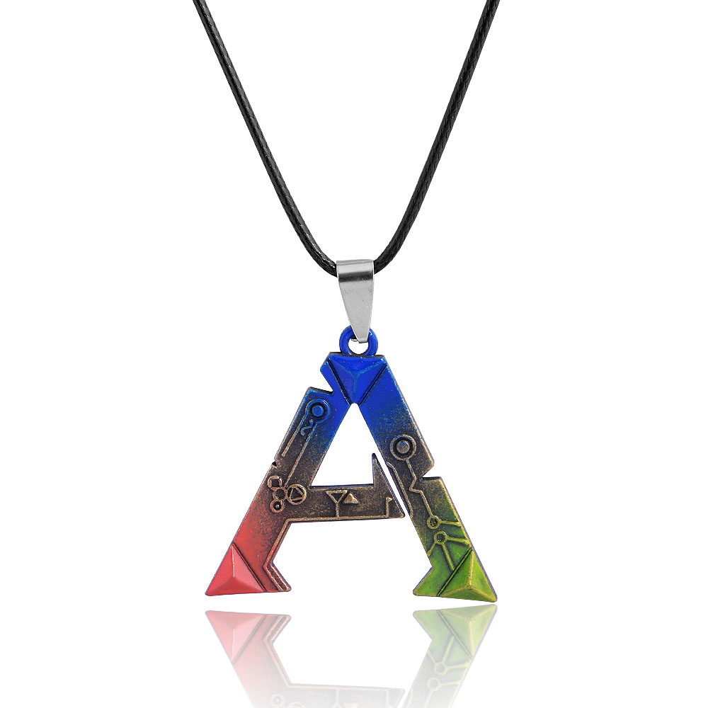 QIYIGE ARK Survival Evolved Necklace Anime Vintage Jewelry Letter A Pendant Unreal Online Game For Fans Gift