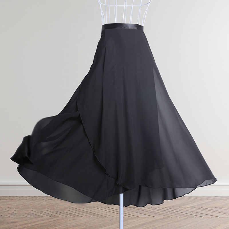 Юбка для танцев Для женщин длинная шифоновая балетная юбка для взрослых бальное Юбка для танцев черного и бордового цвета; балетный костюм обхват талии и галстуком-бабочкой
