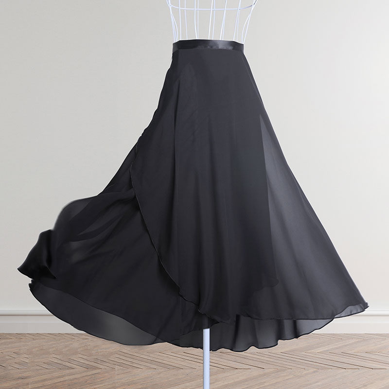 Dance Skirt Women Long Chiffon Ballet Skirts Adult Ballroom Dance Skirt Black Burgundy Ballet Costume Waist Tie Dress