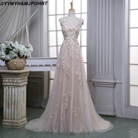 Fantacy Lace Prom Gowns Crew Neck with Appliques Tulle Sheer Illusion Back Prom Dresses