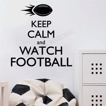 Wall Art Sticker Football Sports Decoration Keep Calm And Watch Quotes Poster Vinyl Removeable Mural Beauty Ornament LY409 цена