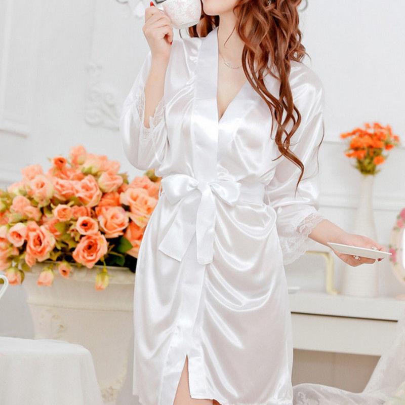 Women Plain Silk Satin Robes Ladies Sexy Soft Solid Color Mini Short Bath robe USA