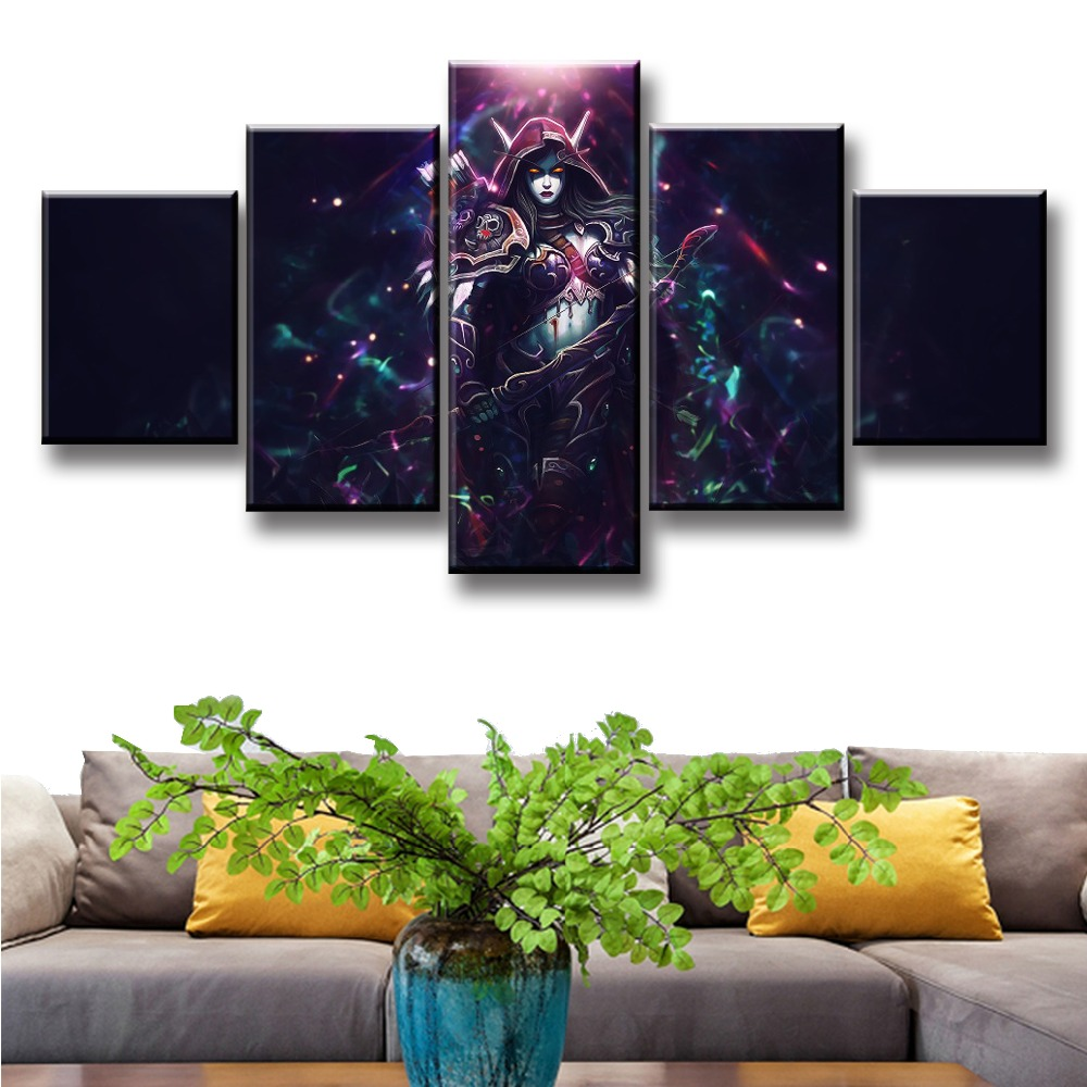 Sylvanas Game 5 Piece Print Picture Poster Painting Canvas Wall Art Picture Modern Home Decoration Living Room Canvas Painting in Painting Calligraphy from Home Garden