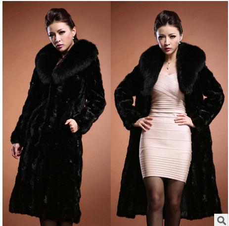 2019 Women s Winter Autumn X Long Mink Fur Jacket Female Faux Fur Collar Fur Coat