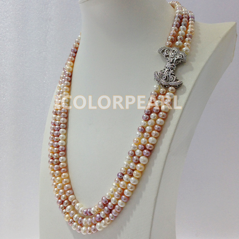 Elegant Three-Strand Semiround White,Pink,Purple Natural Freshwater Pearl Jewelry Necklace With Crystal And Silver Plated Clasp