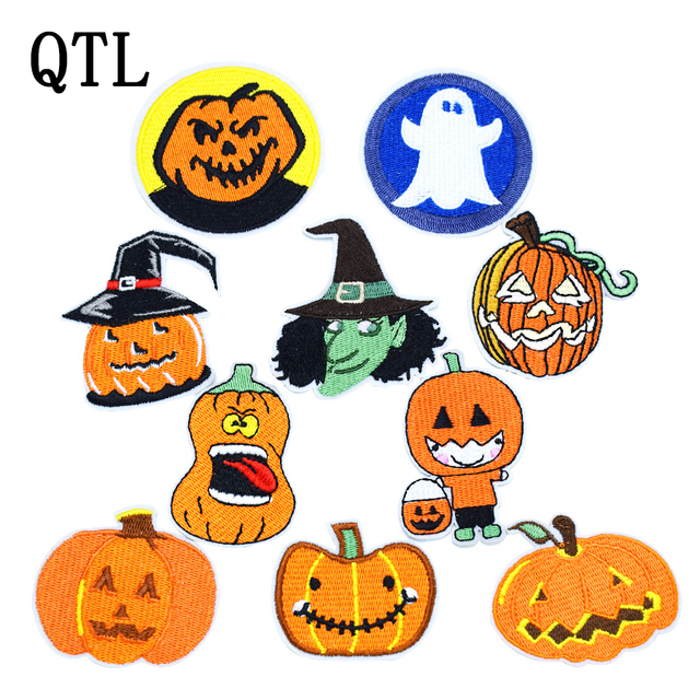1pcs funny halloween patch for clothing iron embroidered patches for kid applique iron on patch punk