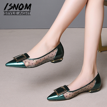 ISNOM Cow Leather Pumps Women Polka Dot Shoes Mesh Shallow Shoes Female Pointed Toe Strange Style Buckle Shoes Woman Summer 2019