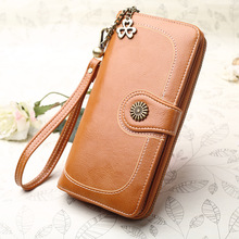 Vintage Button Phone Purses Women Wallets Female Purse Leather Brand Retro Ladies long Zipper women's wallet Card Clutch 217
