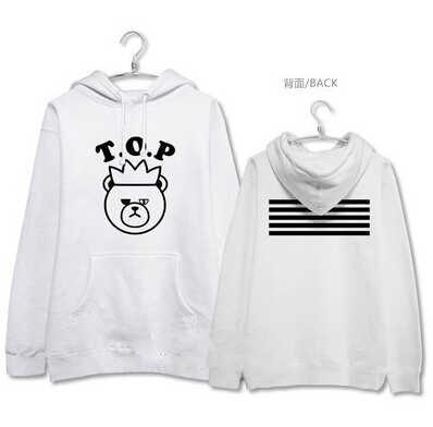 Kpop bigbang made concert cartoon bear image printing hoodie for vips autumn winter  bigbang pullover sweatshirt