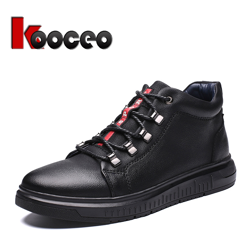 Men's Flats Skateboarding Shoes High top Lace Up Leather Fashion Autumn Winter Casual Black For Boys Men Round toe Big Sizes 13