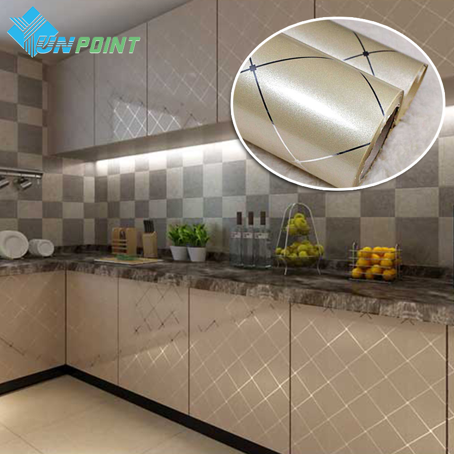 60cmx5m pvc waterproof self adhesive film gold grid silver for Silver kitchen wallpaper