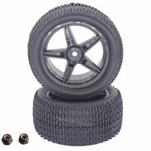 2 unids Caucho RC Buggy Neumáticos Neumático Trasero y Llantas 12mm Hexagonal Para Redcat Shockwave Nitro Buggy