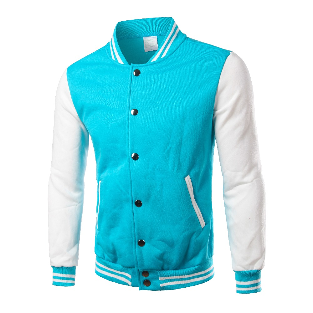 Image 5 - Brand White Varsity Baseball Jacket Men/Women 2016 Fashion Slim Fit Fleece Cotton College Jackets For Fall Bomber Veste Homme-in Jackets from Men's Clothing