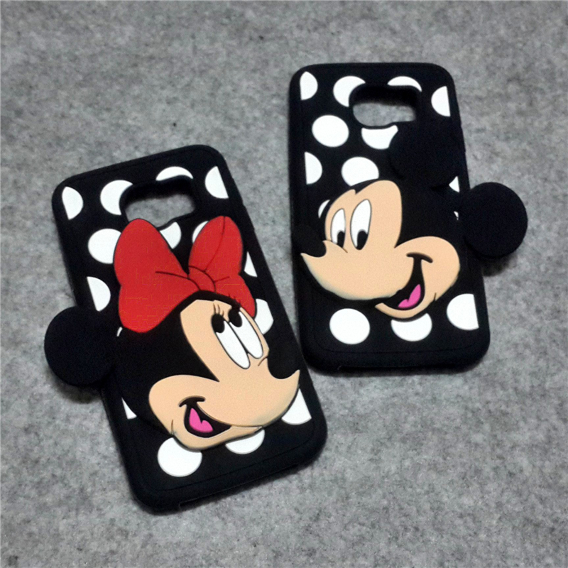 Luxury dot design cartoon mickey minnie mouse mobile phone case 3d cute soft silicone back cover for Samsung Galaxy S6 G9200