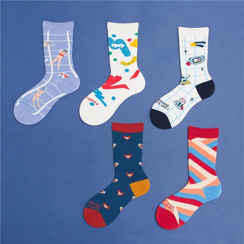 KingDeng Luxury Ankle 3D Socks Cute Short Art Harajuku Korean Style Women Funny Sock Fashion Design Splice Streetwear Vintage
