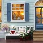 Cutebee DIY House Miniature with Furniture LED Music Dust Cover Model Building Blocks Toys for Children Casa De Boneca - 5