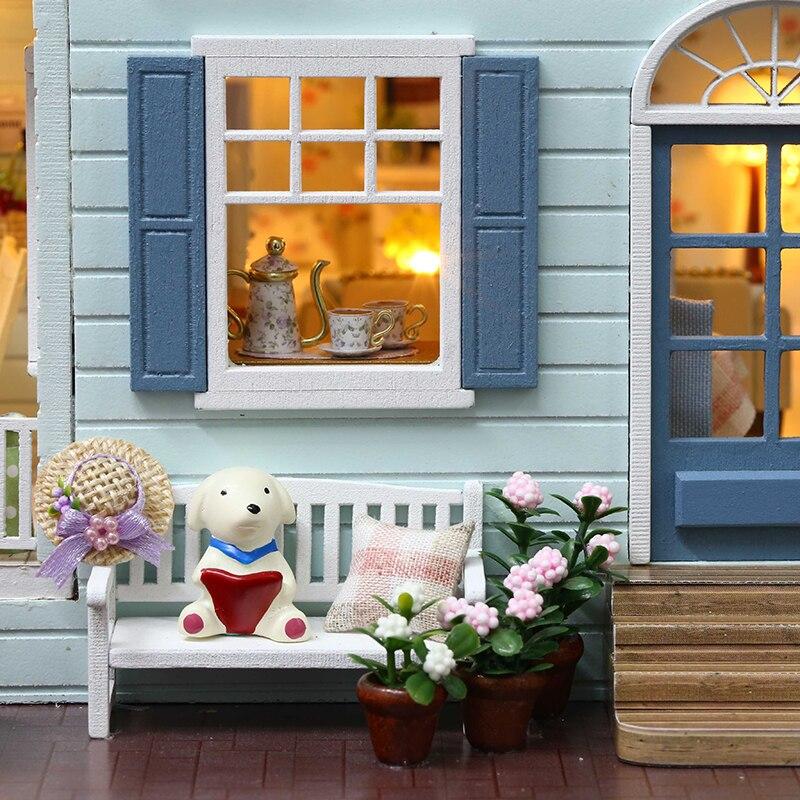 Cutebee bricolage maison Miniature avec meubles LED musique cache poussière modèle blocs De construction jouets pour enfants Casa De Boneca - 5