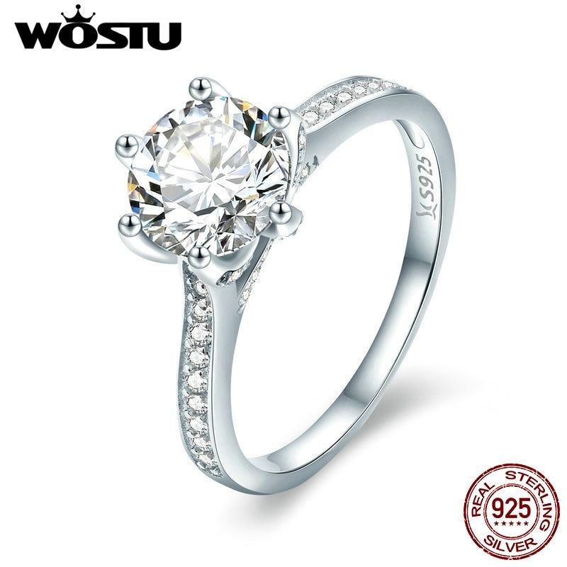 WOSTU 925 Sterling Silber 3 Carat AAAAA Runde CZ Finger Ring für Frauen Luxus Hochzeit Jahrestag Engagement Schmuck Geschenk CQR342