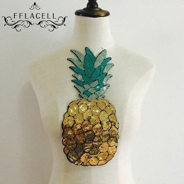 1 adet yamalar Payetli yama büyük Motif aplike ananas yamalar giyim aksesuarları çıkartmalar Işlemeli yamalar