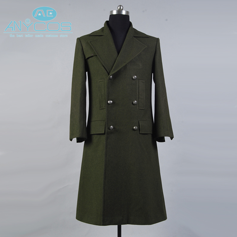 Who is Doctor Dr. Dark Green Winter Long Wool Trench Coat Jacket Halloween Cosplay Costume For Men Custom Made