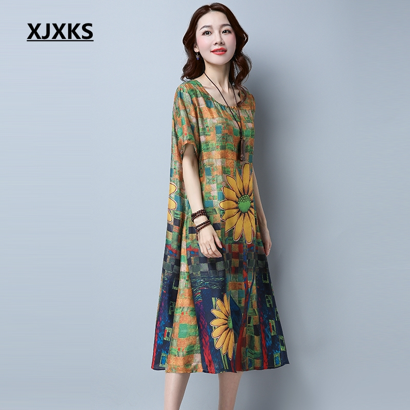 786021079cf8 XJXKS 2017 New Fashion Vintage Sunflower Print Plus Size Women Casual Loose  Summer Dress Plus Size XL 4XL Vestidos 1611-in Dresses from Women s Clothing  on ...