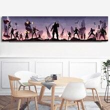 Мстители Шелковый плакат абстрактный большой длинный фильм картина комиксы Супергерои тени принты стены искусства танос