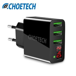 3 Port LED Display USB Charger Universal 5V/3A Smart Charging EU/US Plug Travel Wall Charger Adapter For iPhone Phone Charger