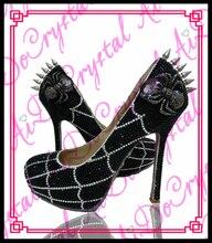 Aidocrystal ЧЕРНОКОЖИХ женщин дамы уникальный дизайн паук покрыта высокий каблук туфли дамы вечерние туфли с заклепками