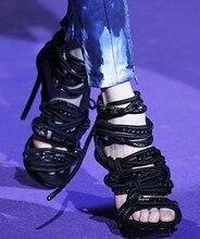 Multi-Farbe Seil Knoten Dünne High Heels Plattform Frauen Sandalen Partei Schuhe Frau LTTL Zapatos Mujer Stilettos Sapatos Femininos