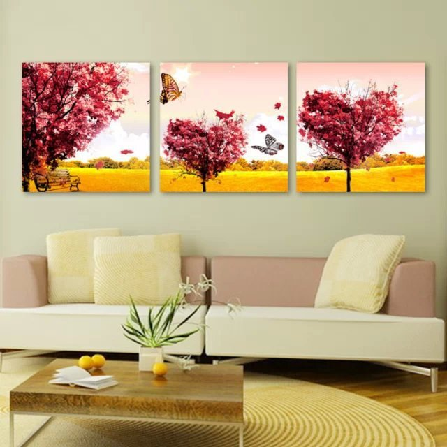 3 paneles hermoso paisaje pintura para el dormitorio - Lienzos decorativos ...