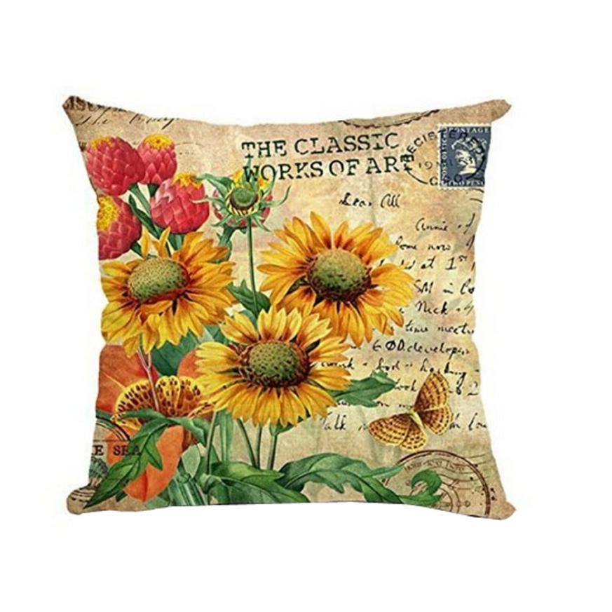 Ouneed Excellent Quality Beautiful Flower Pattern Square Soft Pillow Linen Blend Linen Pillow for Home Office/Hotel/Car Use