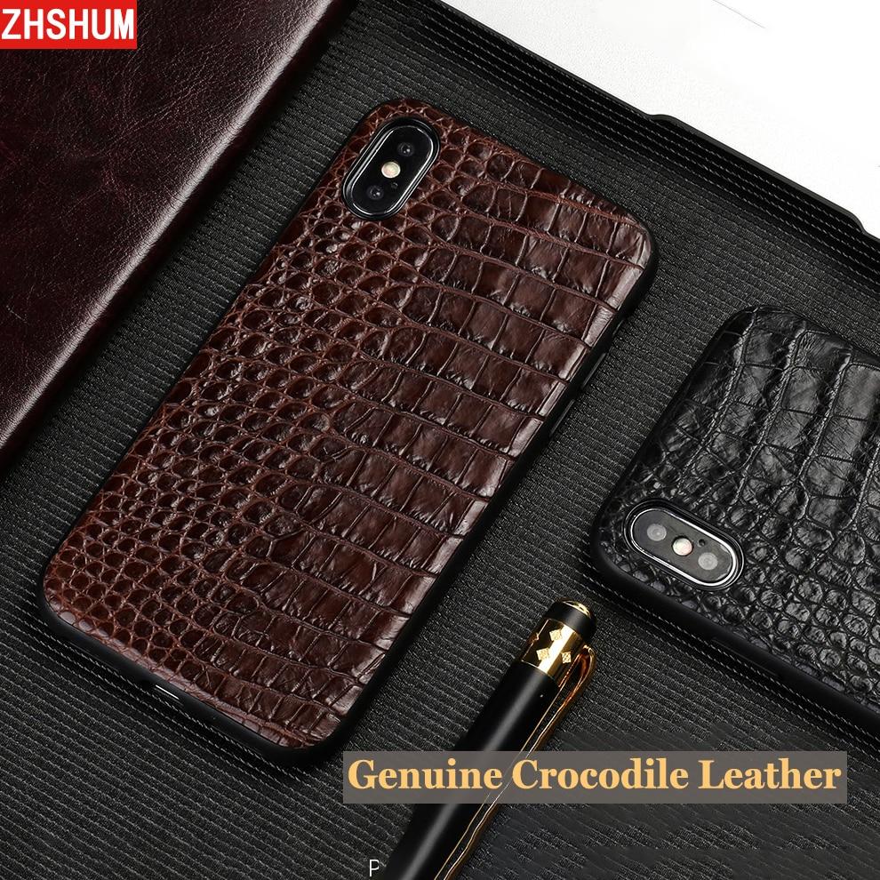 Étui pour Iphone X 7 Plus en cuir de Crocodile véritable Iphone 8 6 S XS MAX XR étui de luxe fait main en Croco pour Iphone 6 SE