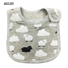 2017 AGLDI 0-3 years baby bibs bib Infant Saliva Towels Newborn Wear Burp Cloths Baby Boy Girl Feeding Bibs waterproof Gray(China)