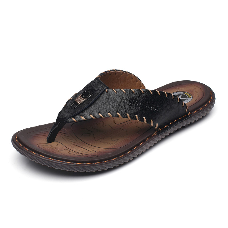 Image 2 - JUNJARM Luxury Brand 2019 New Mens Flip Flops Genuine Leather Men Slippers Summer Fashion Beach Sandals Shoes For Menshoes brandshoes fashionshoes for -