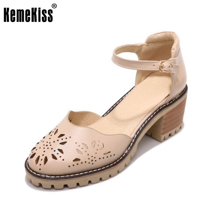 KemeKiss Size 33-43 4 Colors Simple Women High Heel Sandals Ankle Strap Hallow Out Round Toe Thick Heel Sandals Summer Shoes
