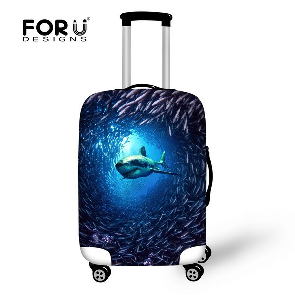 3D Animal Shark Print Luggage Covers For 18-30 Inch Suitcase Elastic Luggage Cover Fashion Travel Trolley Suitcase Accessories