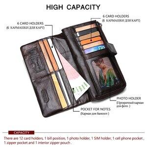 Image 3 - İletişim marka tasarımcı 100% hakiki inek deri debriyaj cüzdan çanta kart tutucu Vintage cüzdan erkekler bozuk para cüzdanı cep