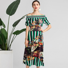 Hot Fashion women's set retro print Off Shoulder Shirt tops a-line skirts 2pieces set 2019 summer holiday style skirt suits A288