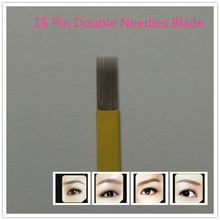 100pcs 15 Pin Double Needles Blade For Permanent Eeybrow Tattoo Needle Tips Manual Beauty Makeup Microblading Blades Fog Eyebrow