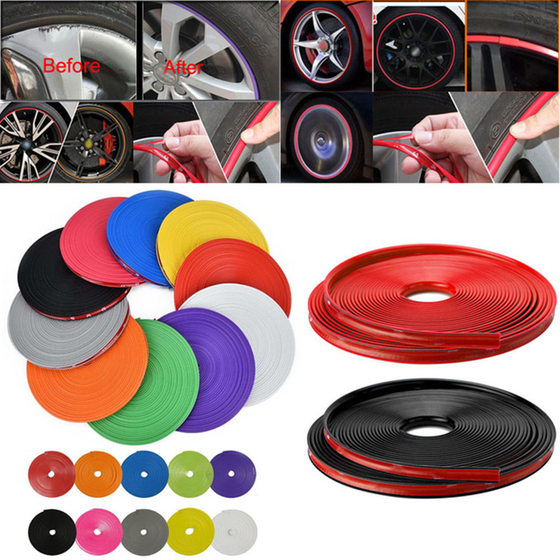 Anti-Scratch Wheel Edge Protector 8M/26ft Universal Car Motorcycle Vehicle Wheel Tire Sticker Rim Edge Tim Rubber Moulding