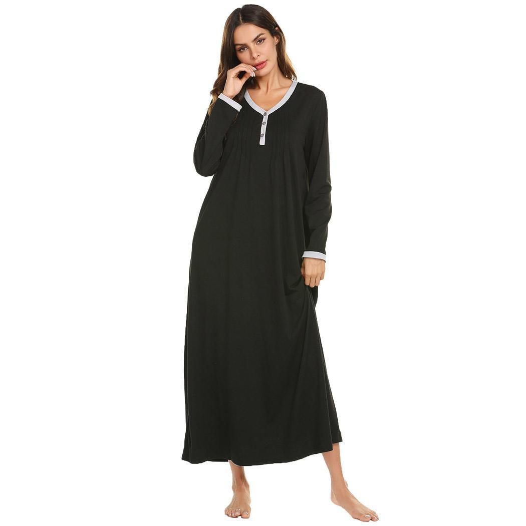 Ekouaer Long Chemise Nightdress   Sleepshirts   Women Casual O-Neck Long Sleeve Front Pleated   Nightgown   Sleep Lounge Dress Sleepwear
