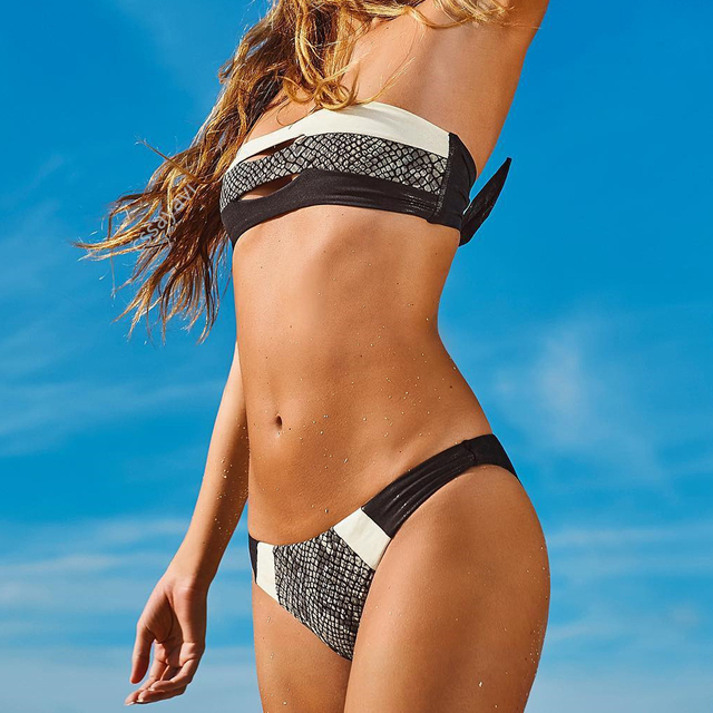 Sexy Strapless Women Bikini Suit Padded Snake Skin Print Bandeau Biquini Two Piece Lady Beachwear Summer Vocation bikinis sale