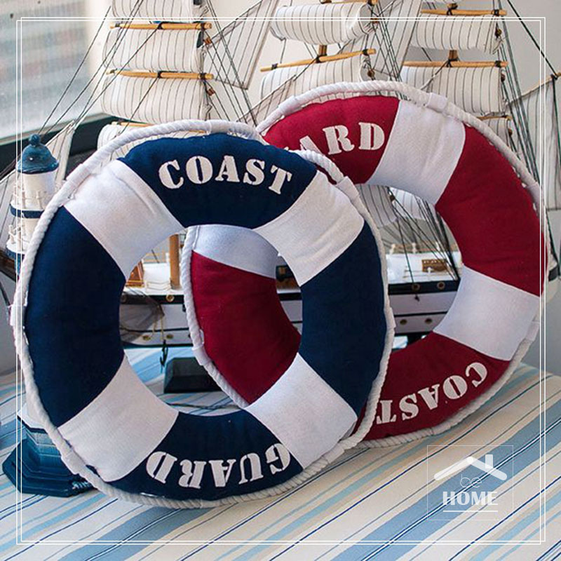 be home New Arrival High Quality 3D Ring Ring Buoy Cushion Contton Navy و قرمز برای خانه و کافی شاپ