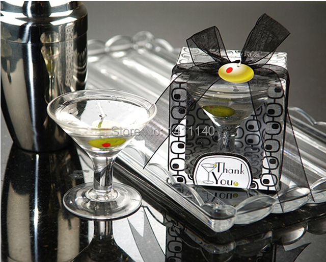 free shipping miniature martini glass wedding party candle romantic