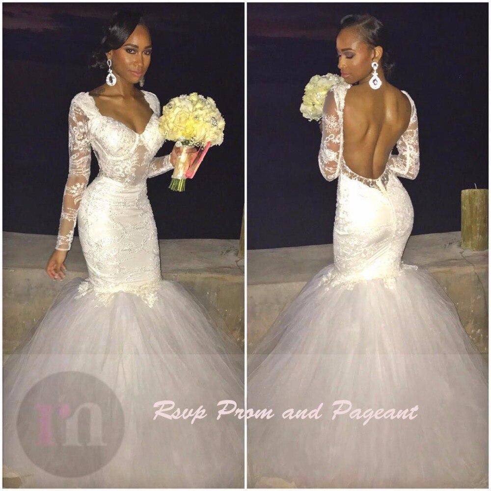 Sexy Backless Black Girl Long Sleeve Lace Mermaid African Wedding - Black Girl Wedding Dresses