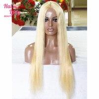 Halo Lady Güzellik 130% Yoğunluk U parçası Peruk Sarışın 613 Düz dantel Saç Peruk % 100% Brezilyalı Insan Remy Saç Orta Kısım 8