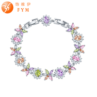 FYM Brand Colorful Flowers AAA Cubic Zirconia Bracelets Bangles Silver Color Chain Link Bracelet Fashion Jewelry