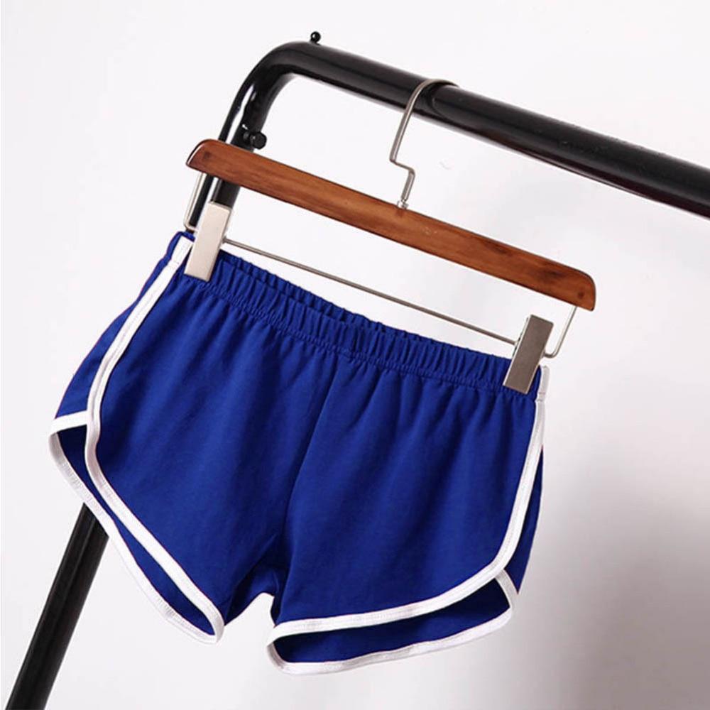 Women Elastic Waist Short All-match Loose Solid Soft Cotton Casual Short 12