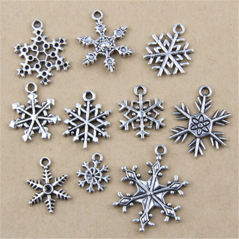 20pcs Metal Charm Mixed Snowflake Series Antique Silver Pendant Found 29-10mm