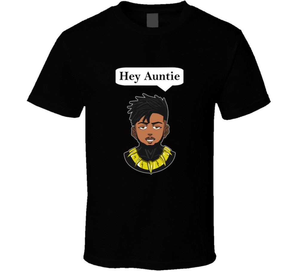 Hey Auntie The Panther King T-shirt Mens Tee Black Panther Gift New From US Print T Shirt Mens Short Sleeve Hot top tee